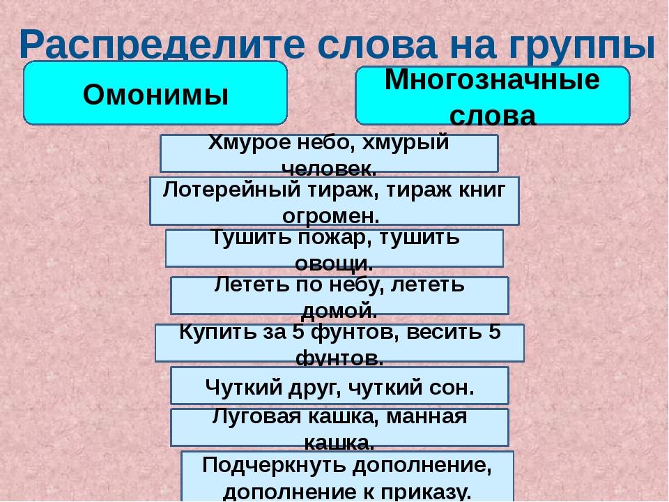 Распределите слова на группы Омонимы Многозначные слова Хмурое небо, хмурый ч...