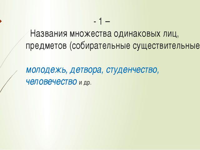 - 1 – Названия множества одинаковых лиц, предметов (собирательные существите...