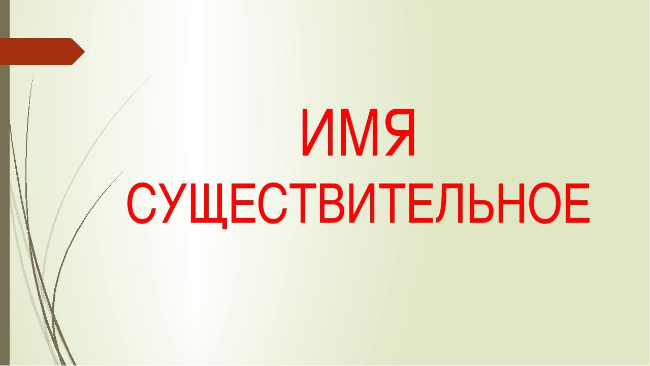 ИМЯ СУЩЕСТВИТЕЛЬНОЕ