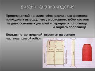 Проведя дизайн-анализ юбок различных фасонов, приходим к выводу, что , в осно