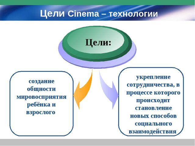 Цели Cinema – технологии создание общности мировосприятия ребёнка и взрослого...