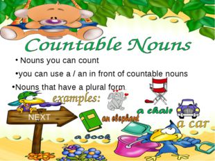 Nouns you can count NEXT you can use a / an in front of countable nouns Noun