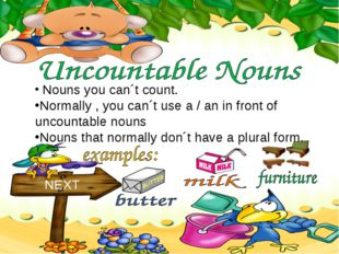 Nouns you can´t count. NEXT Normally , you can´t use a / an in front of unco