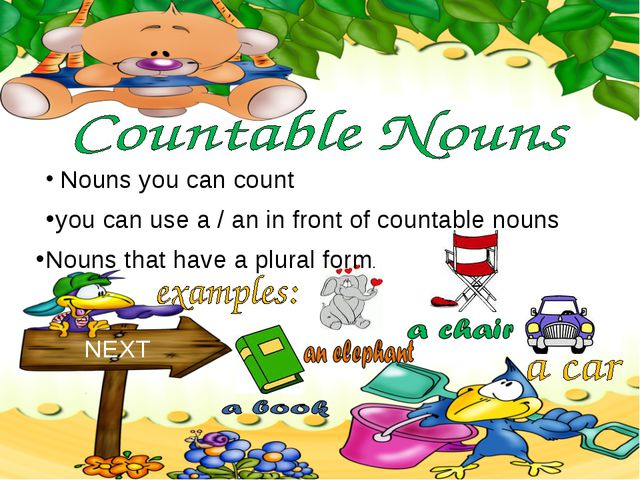 Nouns you can count NEXT you can use a / an in front of countable nouns Noun...