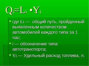 Qi=Li •Yi где Li — общий путь, пройденный выявленным количеством автомобилей