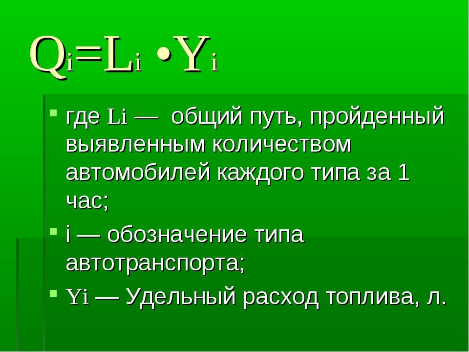 Qi=Li •Yi где Li — общий путь, пройденный выявленным количеством автомобилей...