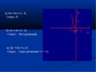 а) 4х²+4х+1≥ 0; Ответ: б) 4х²+4х+1< 0; Ответ: Нет решений. R в) 4х² +4х+1≤ 0;