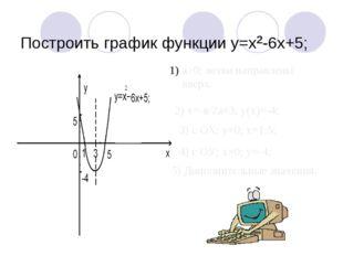 Построить график функции y=x²-6x+5; а>0; ветви направлены вверх. 2) х=-в/2а=
