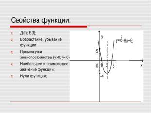 Свойства функции: Д(f); Е(f); Возрастание, убывание функции; Промежутки знако