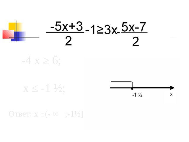 -4 х ≥ 6; х ≤ -1 ½; Ответ: х Є (- ∞ ;-1½]