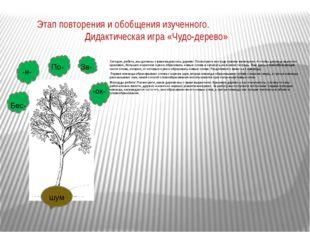 Этап повторения и обобщения изученного. Дидактическая игра «Чудо-дерево» Сего