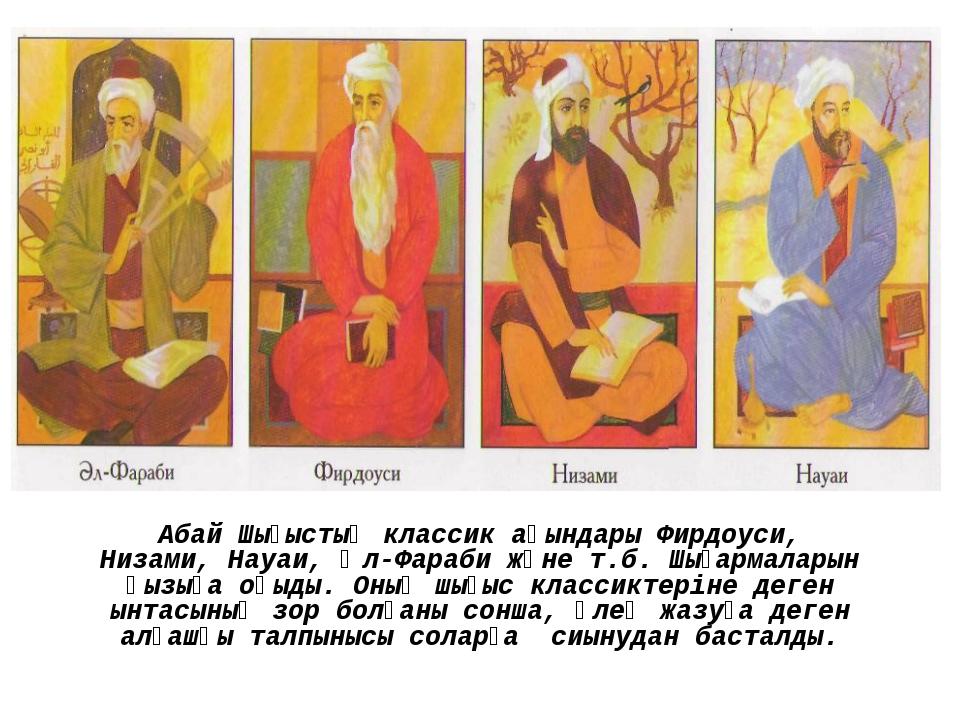 Абай Шығыстың классик ақындары Фирдоуси, Низами, Науаи, Әл-Фараби және т.б....