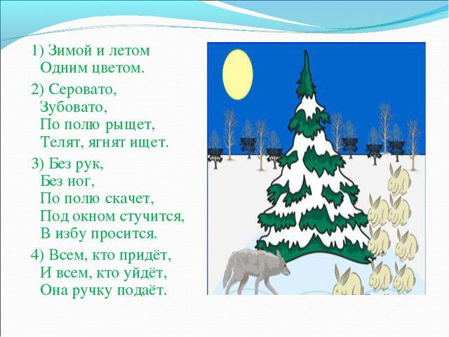 1) Зимой и летом Одним цветом. 2) Серовато, Зубовато, По полю рыщет, Телят,...