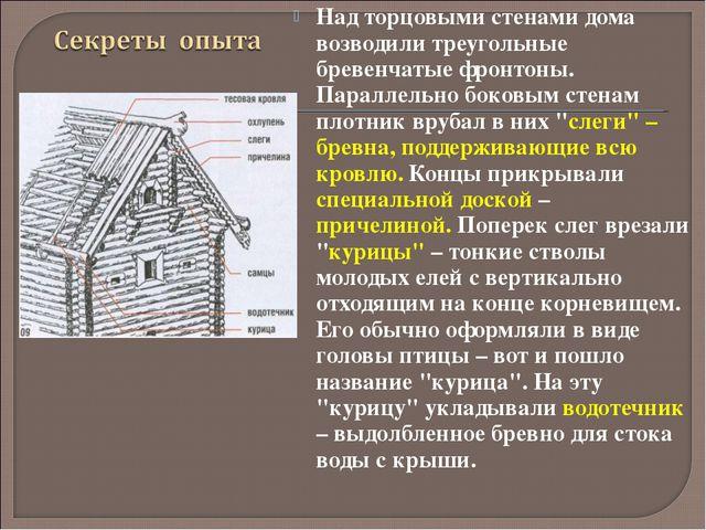 Над торцовыми стенами дома возводили треугольные бревенчатые фронтоны. Паралл...