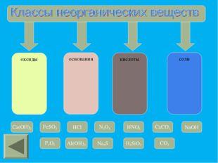 оксиды основания кислоты соли Cа(OН)2 FeSO3 HCl N2O3 HNO3 CaCO3 NaOH P2O5 Al(