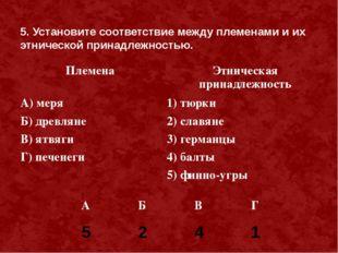 5. Установите соответствие между племенами и их этнической принадлежностью. 5
