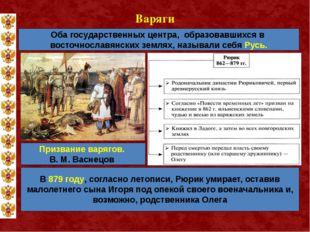 Варяги Оба государственных центра, образовавшихся в восточнославянских землях