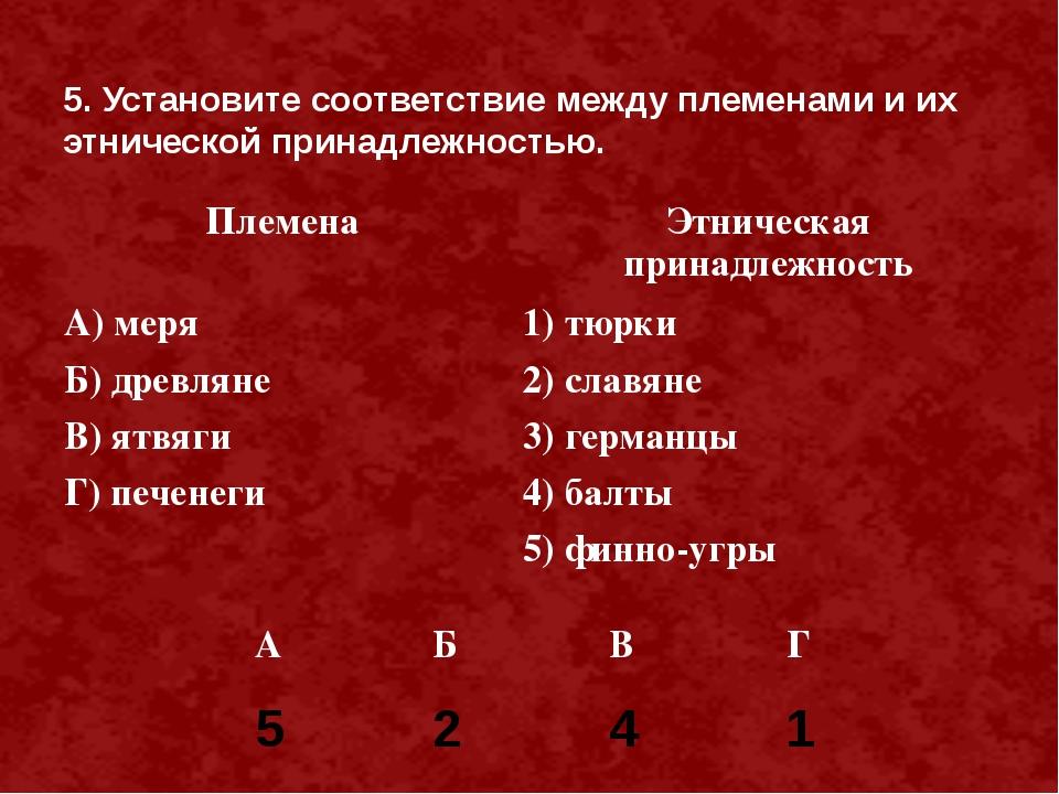 5. Установите соответствие между племенами и их этнической принадлежностью. 5...
