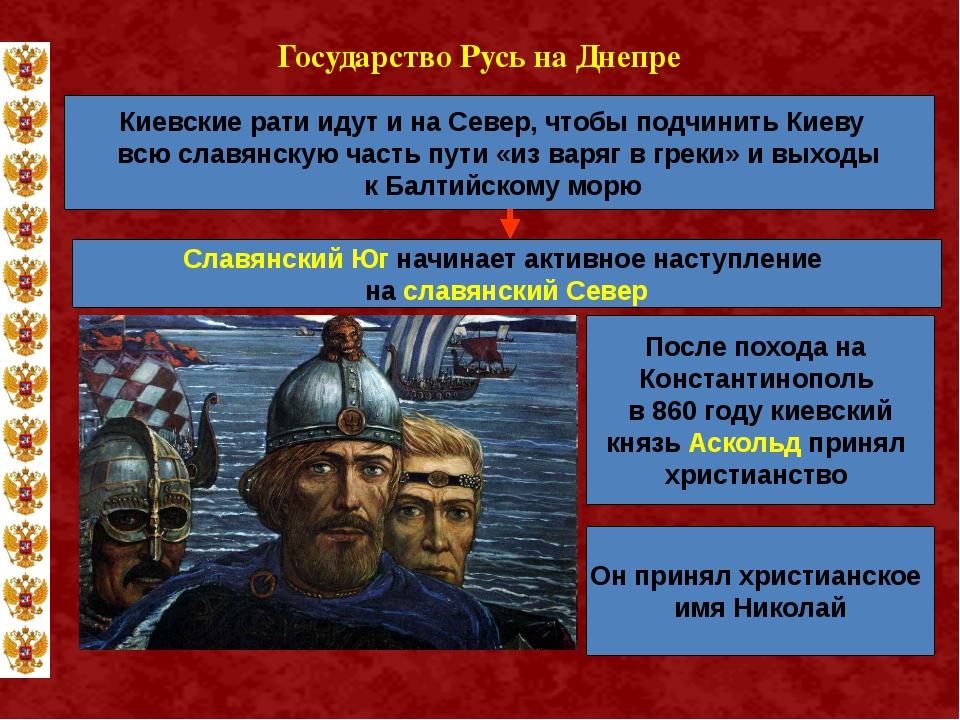 Государство Русь на Днепре Киевские рати идут и на Север, чтобы подчинить Кие...