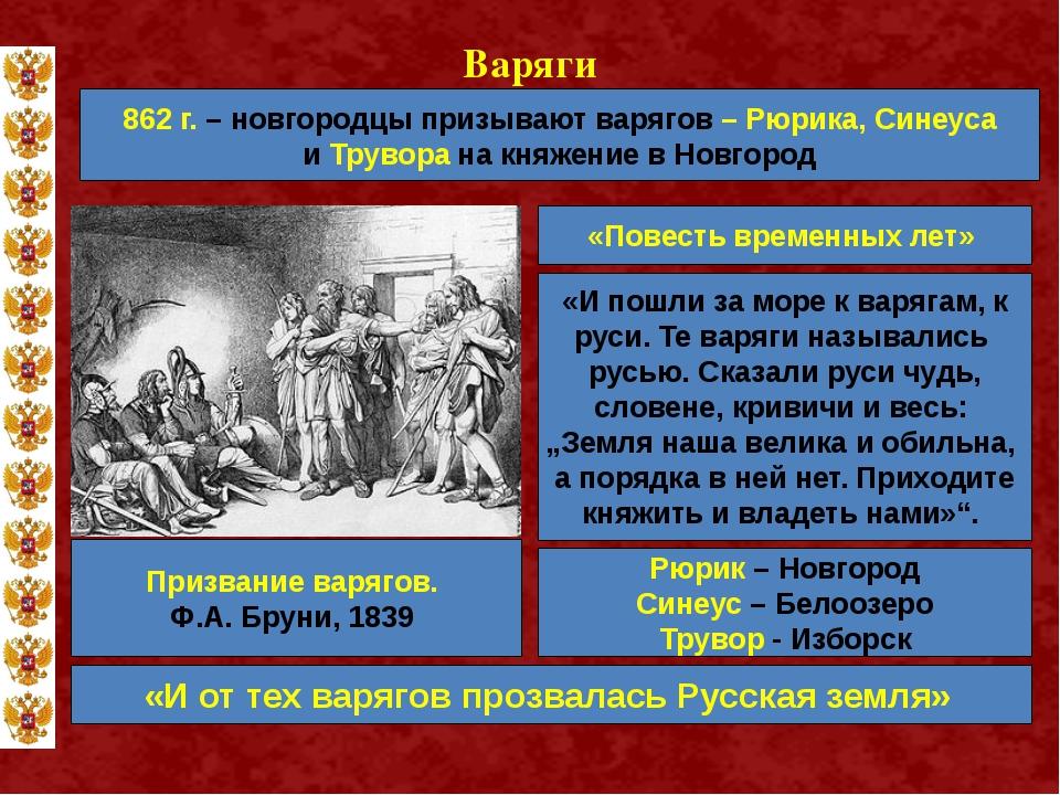Варяги 862 г. – новгородцы призывают варягов – Рюрика, Синеуса и Трувора на к...