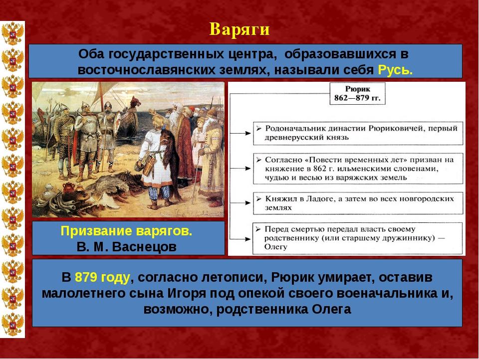 Варяги Оба государственных центра, образовавшихся в восточнославянских землях...