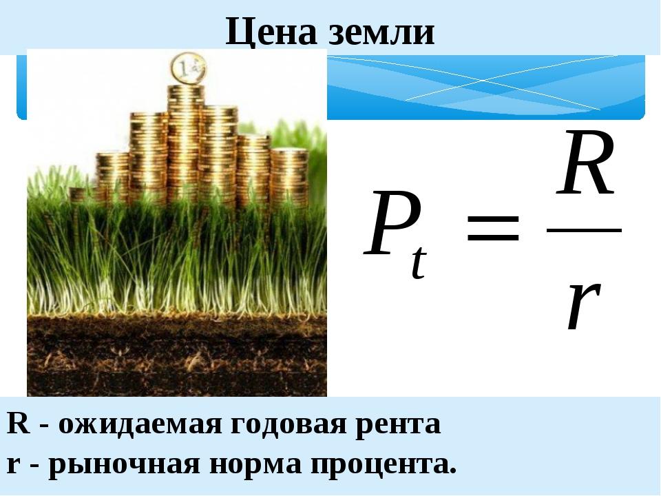 Цена земли R - ожидаемая годовая рента r - рыночная норма процента. (C) ПТПЛ,...