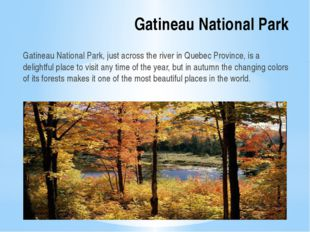 Gatineau National Park Gatineau National Park, just across the river in Quebe