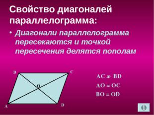 Свойство диагоналей параллелограмма: Диагонали параллелограмма пересекаются и