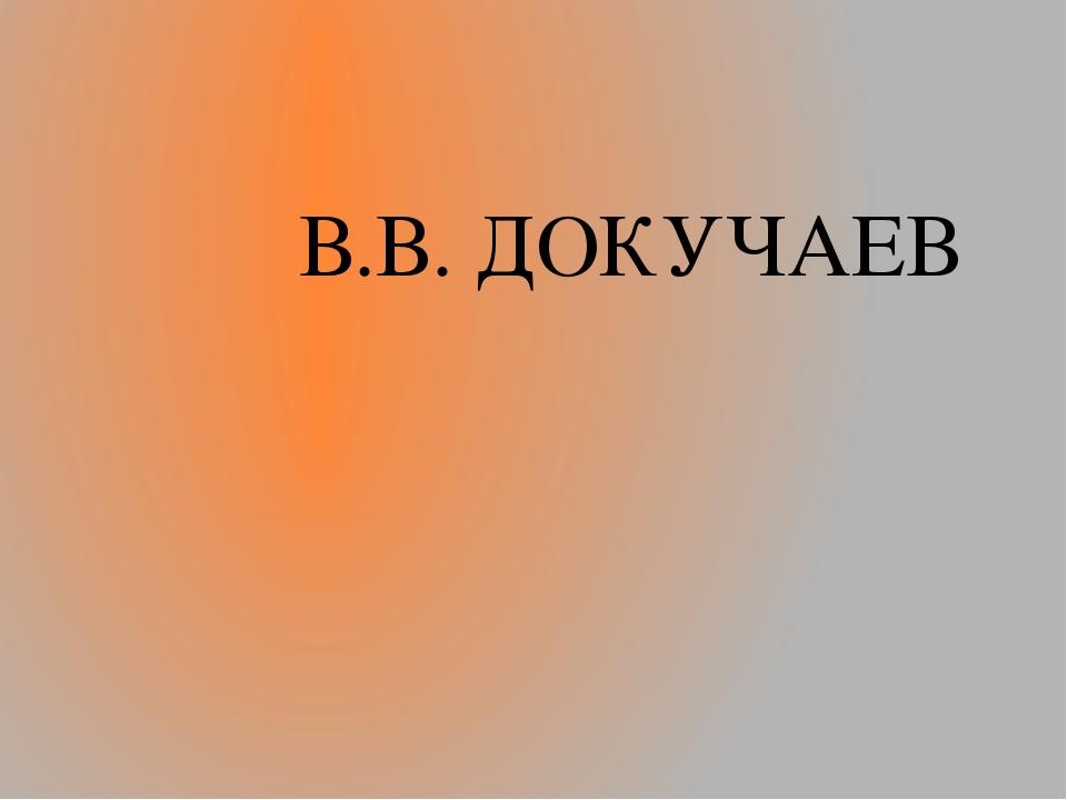 В.В. ДОКУЧАЕВ