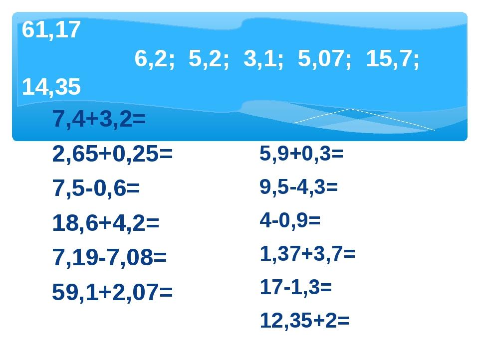 №3. Вычислите устно и запишите в тетрадь только ответы 7,4+3,2= 2,65+0,25= 7,...