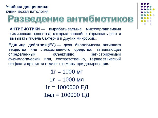 1г = 1000 мг 1л = 1000 мл 1г = 1000000 ЕД 1мл = 100000 ЕД Единица действия(Е...