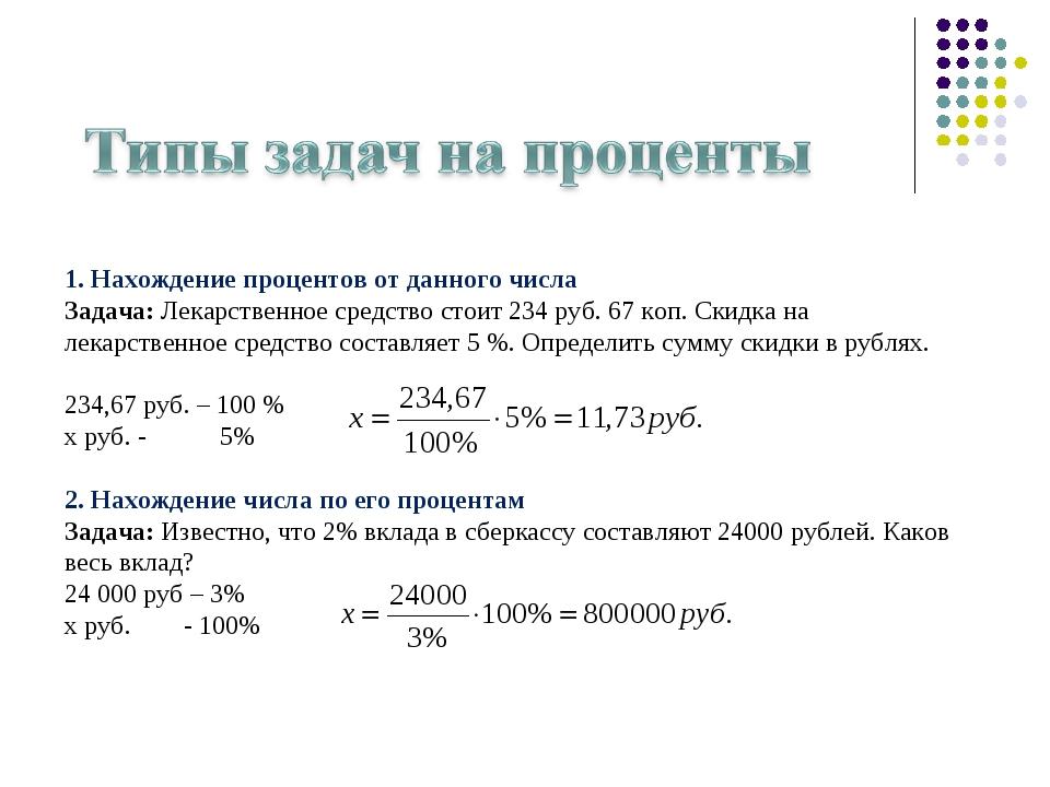 1. Нахождение процентов от данного числа Задача: Лекарственное средство стои...