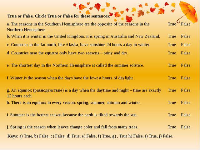 True or False. Circle True or False for these sentences. Keys: a) True, b) Fa...