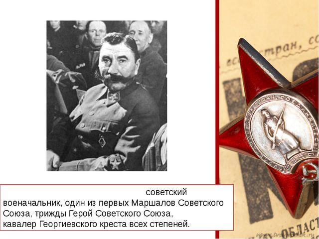 Семён Миха́йлович Будённый-советский военачальник, один из первыхМаршалов С...