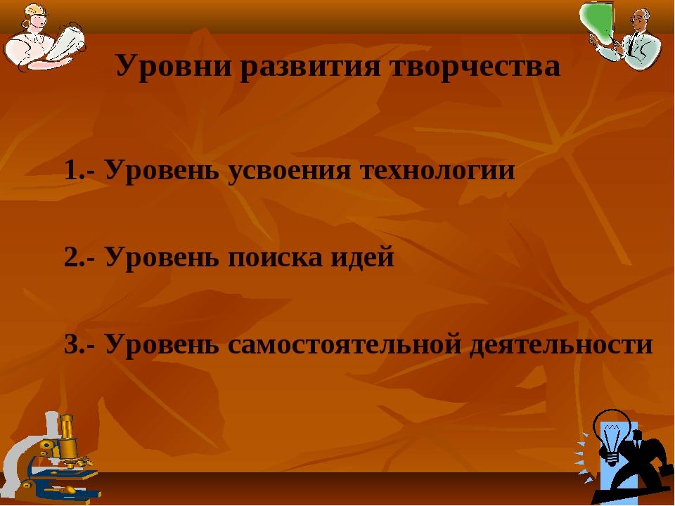 Уровни развития творчества 1.- Уровень усвоения технологии 2.- Уровень поиска...