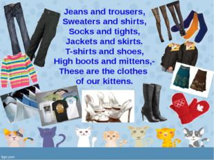 Jeans and trousers, Sweaters and shirts, Socks and tights, Jackets and skirts