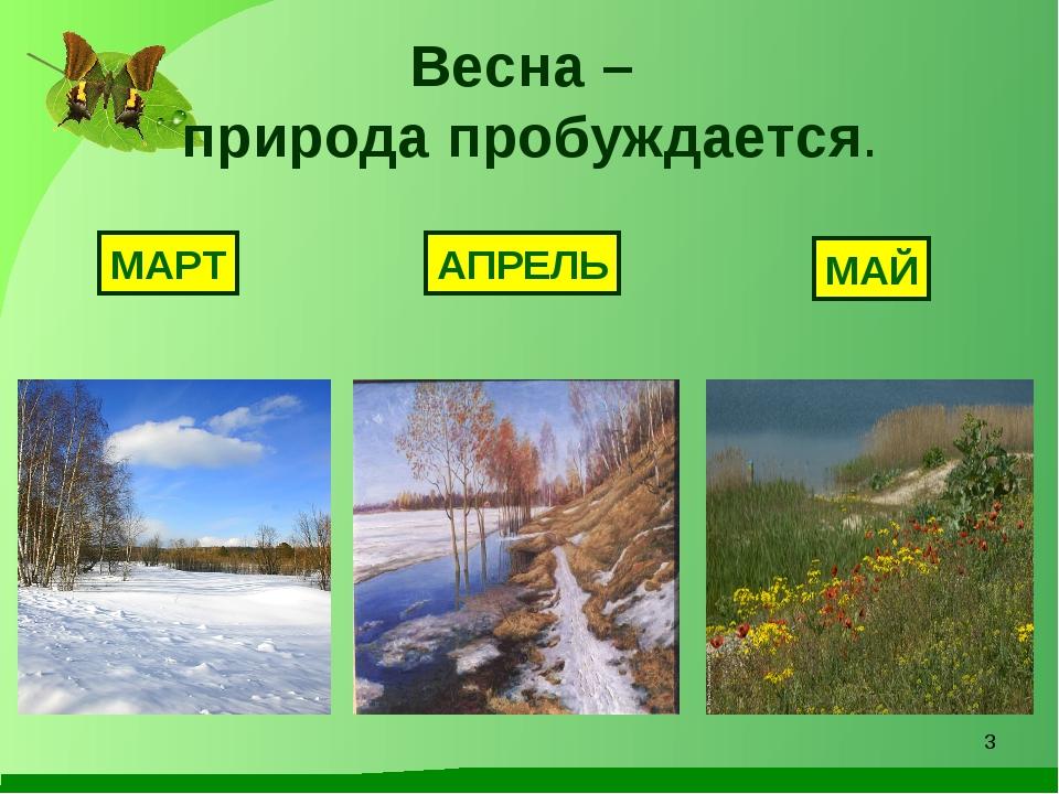 Весна – природа пробуждается. МАРТ АПРЕЛЬ МАЙ *