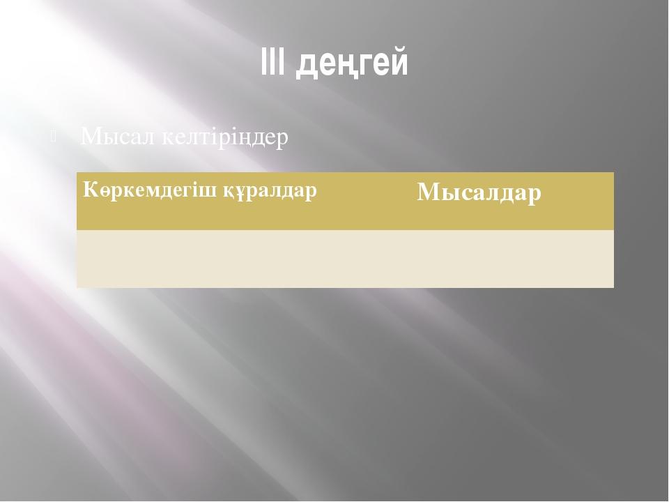 III деңгей Мысал келтіріңдер Көркемдегіш құралдар Мысалдар