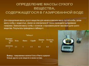 ОПРЕДЕЛЕНИЕ МАССЫ СУХОГО ВЕЩЕСТВА, СОДЕРЖАЩЕГОСЯ В ГАЗИРОВАННОЙ ВОДЕ Для опре