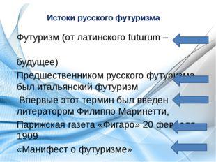 Истоки русского футуризма Футуризм (от латинского futurum – будущее) Предшест