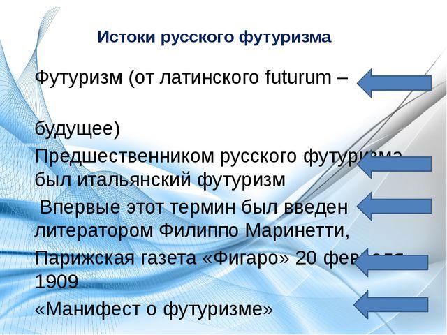 Истоки русского футуризма Футуризм (от латинского futurum – будущее) Предшест...