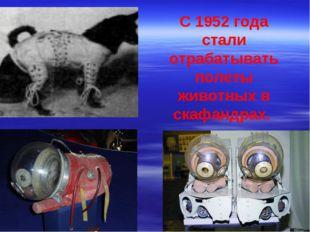 С 1952 года стали отрабатывать полеты животных в скафандрах.