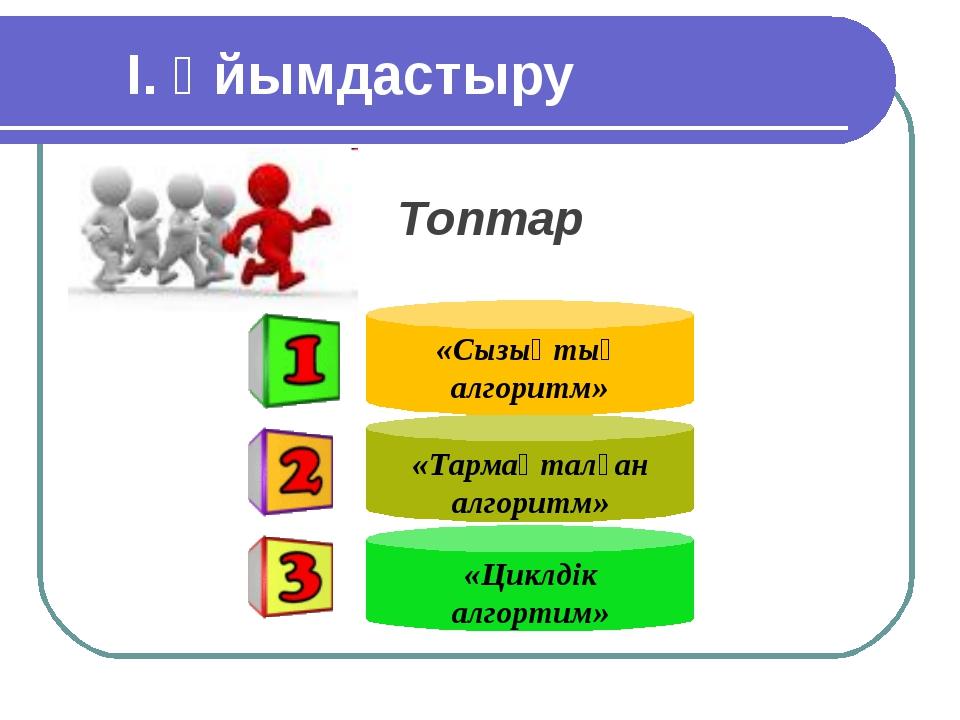 І. Ұйымдастыру Топтар Text «Сызықтық алгоритм» «Тармақталған алгоритм» «Цик...