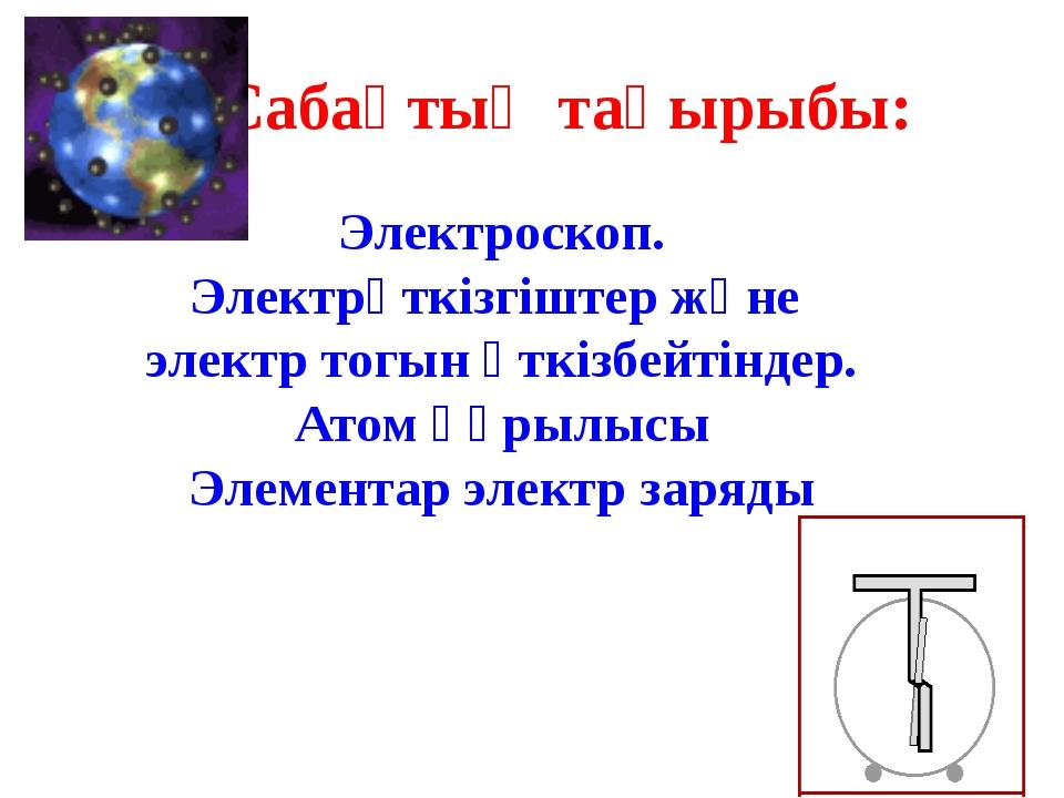 Сабақтың мақсаты: Электроскоп пен электрометрдің құрылысымен, жұмыс істеу при...