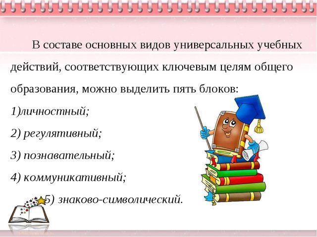 В составе основных видов универсальных учебных действий, соответствующих клю...