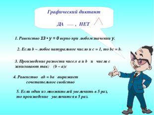 Графический диктант ДА , НЕТ 4. Равенство ab = ba выражает сочетательное свой