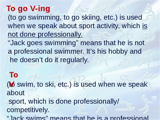(to go swimming, to go skiing, etc.) is used when we speak about sport activi...