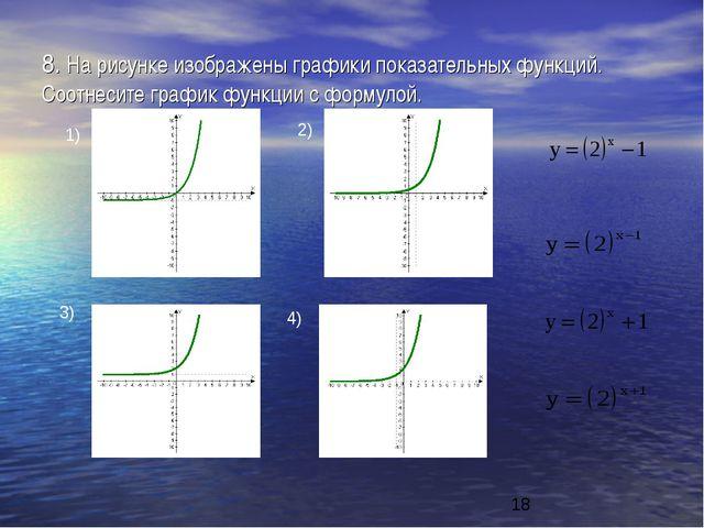 8. На рисунке изображены графики показательных функций. Соотнесите график фун...