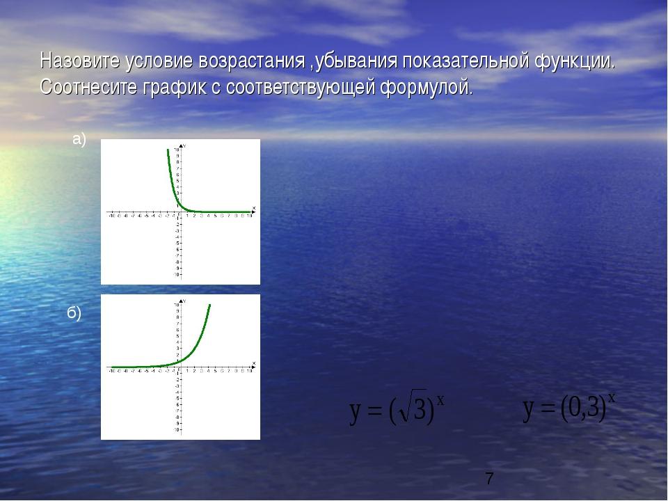 Назовите условие возрастания ,убывания показательной функции. Соотнесите граф...