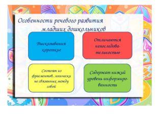 Особенности речевого развития младших дошкольников Высказывания короткие Отл